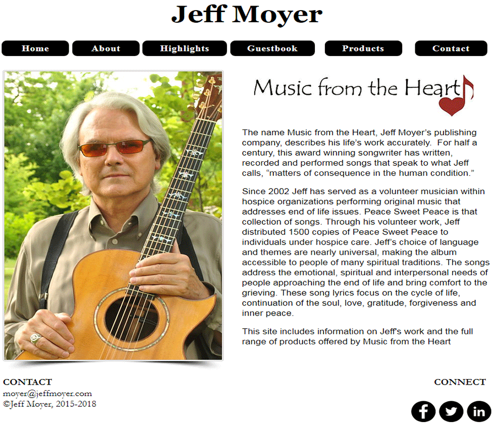 Screenshot of Jeff Moyer's Home Page