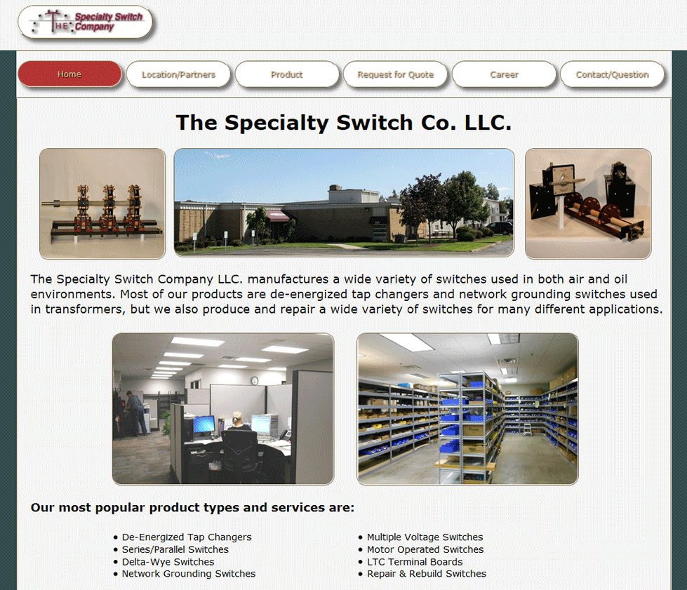 Screenshot of the Specialty Switch Home Page
